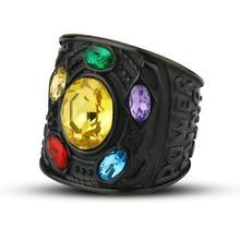 EdgLifU Marvel Avengers thanos Rings Gold Infinite Power Gauntlet Crystal Ring for Men Stainless Steel Infinity War Keyring