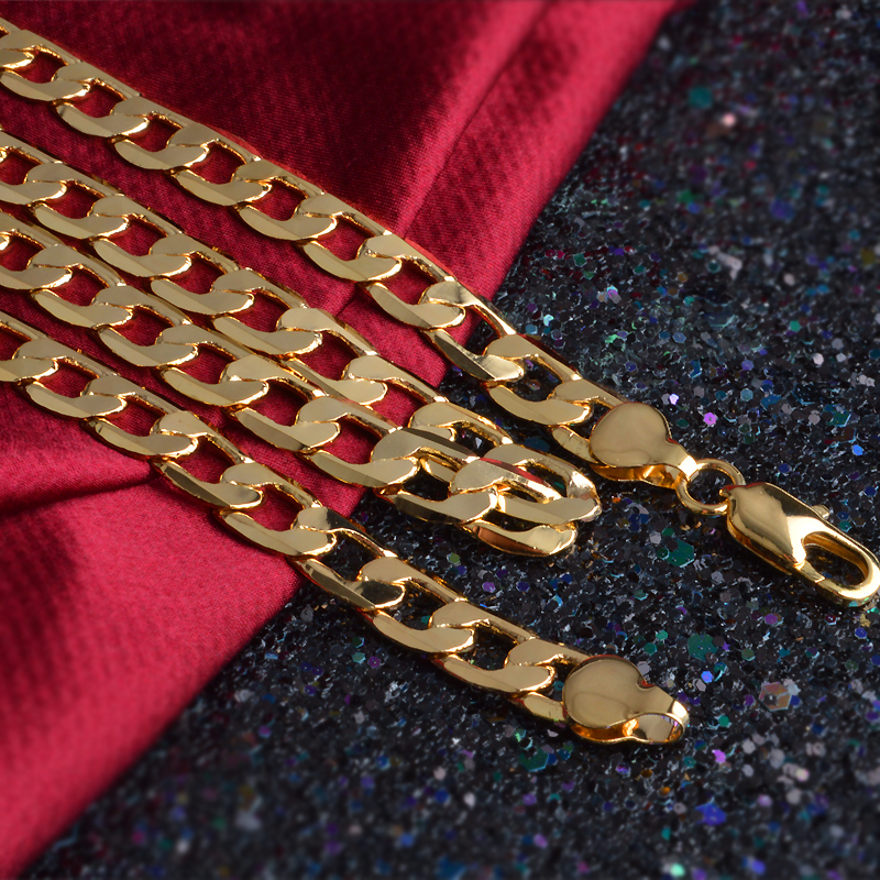 1PC 4mm 6mm 8mm 10mm 20 inch Metal Flat Gold Color Charm Rope Necklace Chains Jewelry With Good Quality Lobster Clasps Set Gift in Chain Necklaces from Jewelry Accessories
