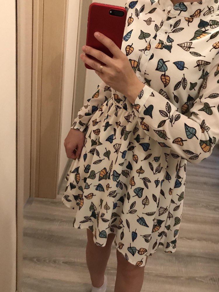Spring Vintage Elastic Waist Dresses Chiffon O Neck Long Sleeved Floral Dress Female Vestidos photo review
