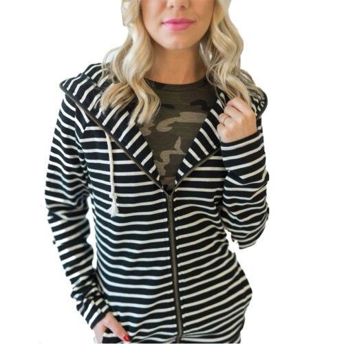 973af3bb Women Winter Hooded Zipper Striped Tops Jacket Hoodie Jumper Outwear Size S -XL