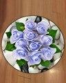 Зеленый лист с голубыми розами  камень  цветы  цветочный 3d Рисунок  противоскользящие круглые ковры  коврик для гостиной  ванной комнаты