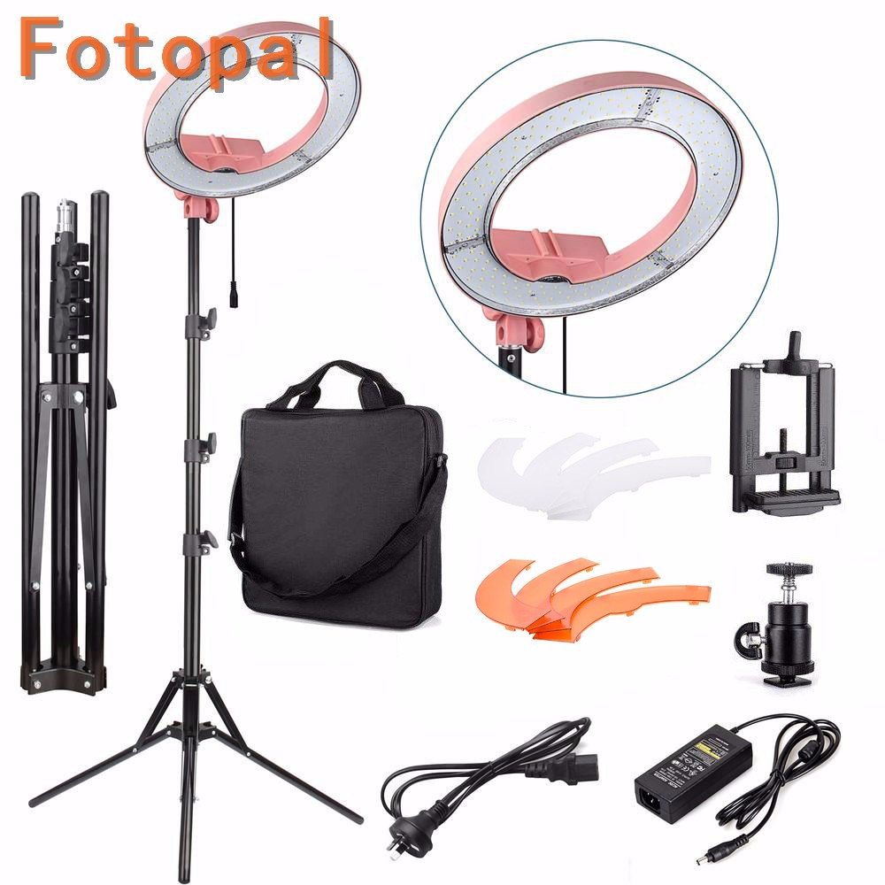 Fotopal Pink Color 240pcs LED Dimmable Photography Photo/Studio/Phone/Video Ring Light Annular Lamp With Tripod Stand For Photo fotopal led ring light for camera photo studio phone video 1255w 5500k photography dimmable ring lamp with plastic tripod stand