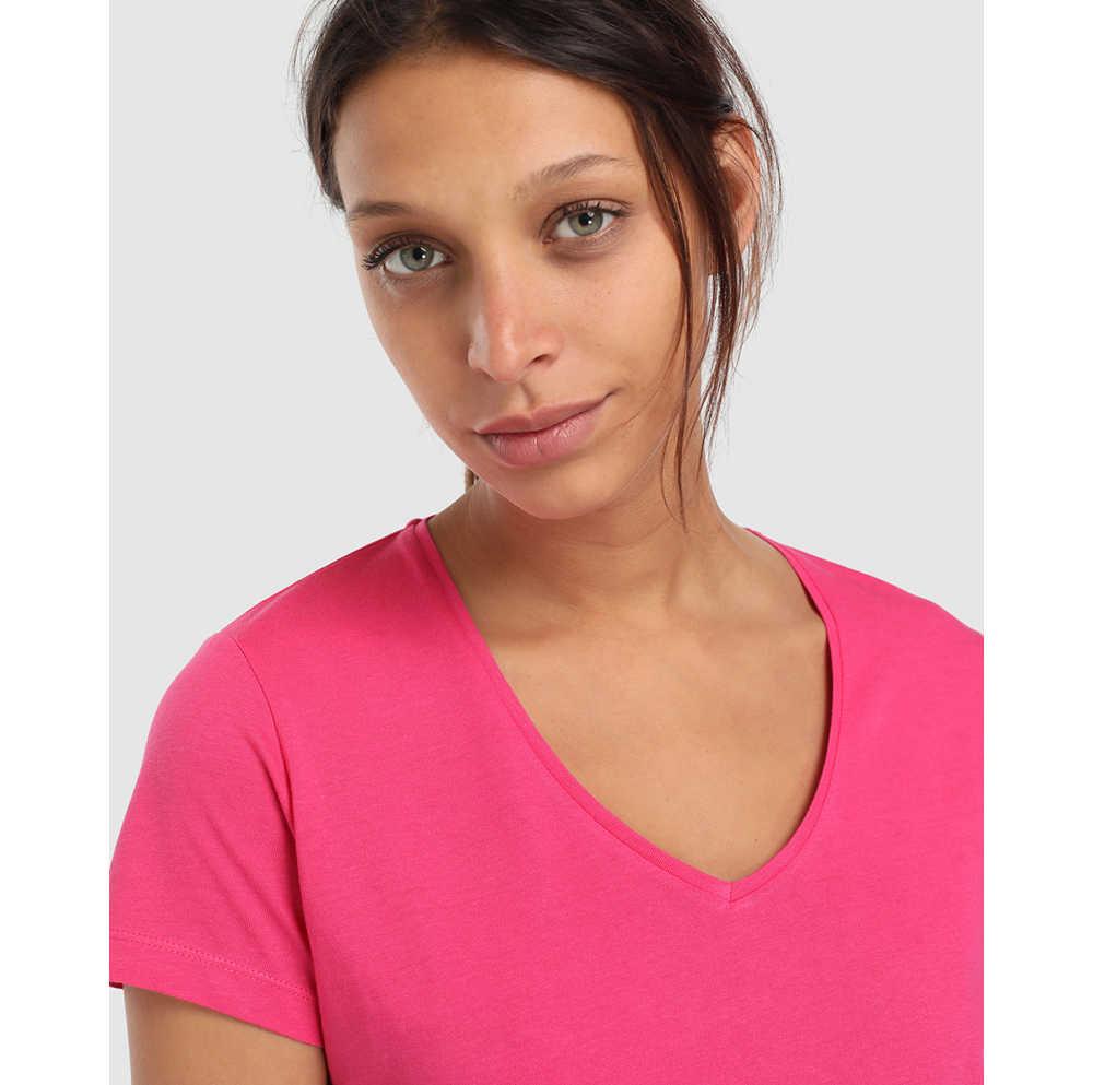 Unit Tops Camisetas Algodon Basica Rosa Liso Manga Corta Para Mujer Tallas Grandes Cuello En V Camisetas El Corte Ingles Moda Casual Ropa Verano 2019 Camisetas Aliexpress