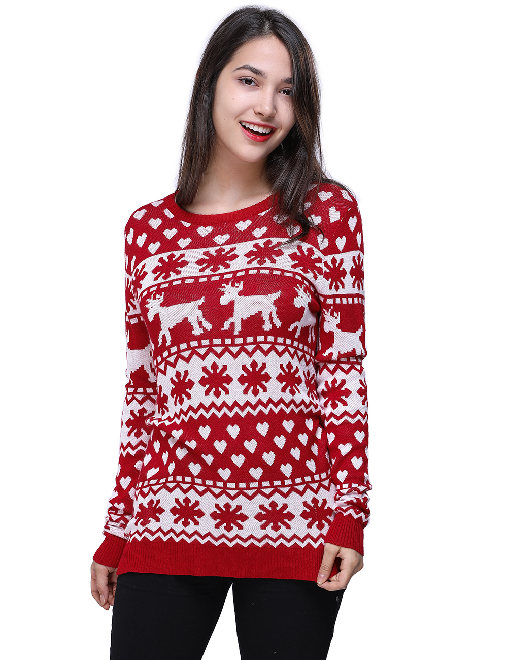 Deer Pullover Casual Long Sleeve Spring Christmas Women Knitted Red Sweater O Neck Deer Print Slim Pullover Sweater Winter Tops