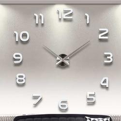Акриловые настенные часы, наклейки на большие настенные часы, бесшумные цифровые 3D самостоятельные самоклеящиеся настенные часы, современ...