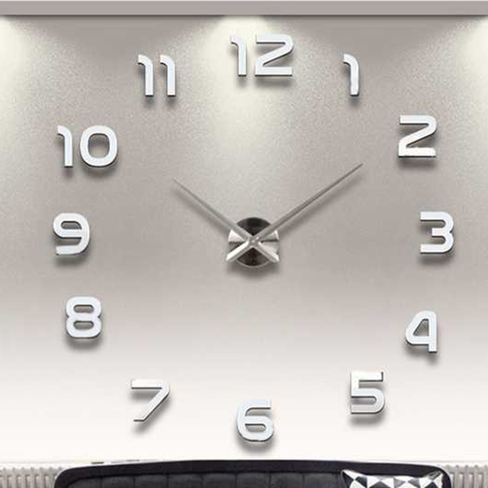Large Wall Clock Sticker Acrylic Silent Digital Big 3D DIY Wall Clock Modern Design for Living Room Home Decor(China)