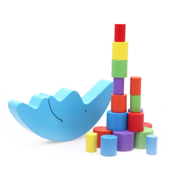 Eva2king Moon balance building Wooden Blocks Arcoiris madera Klocki drewniane Natural wood toys Wooden rainbow Kids