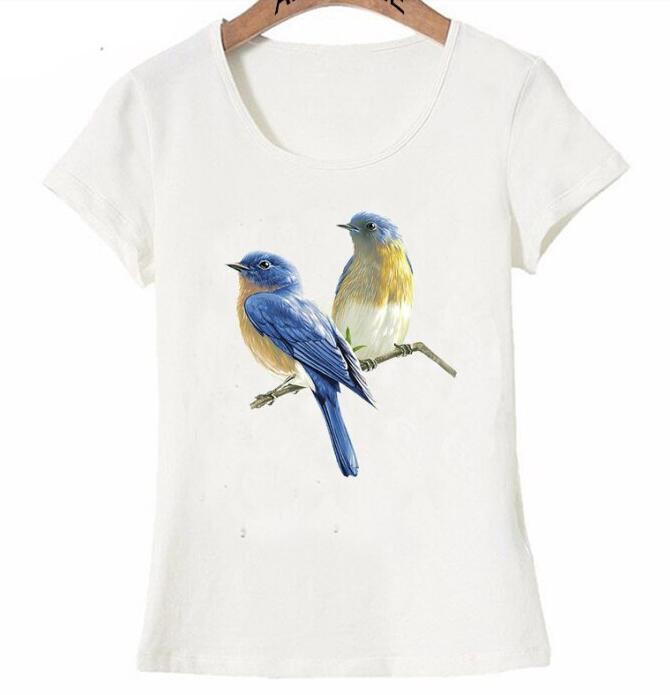Kadın Giyim'ten Tişörtler'de 2019 nouveau été beau bleu oiseau art peinture T Shirt mignon femmes t shirt mignon oiseau conception hauts mode fille t shirts'da  Grup 1
