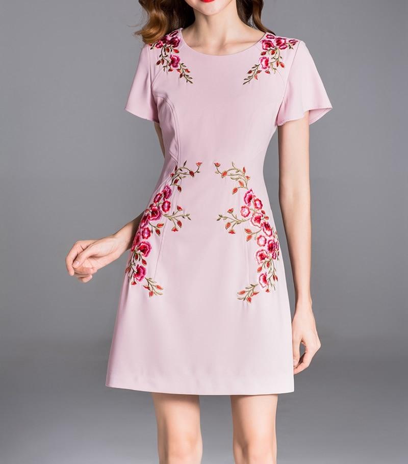 Fleur Dames Broderie lavande Manches Ol Rose O Papillon Bureau Femmes Robe cou Robes QCsdrthx