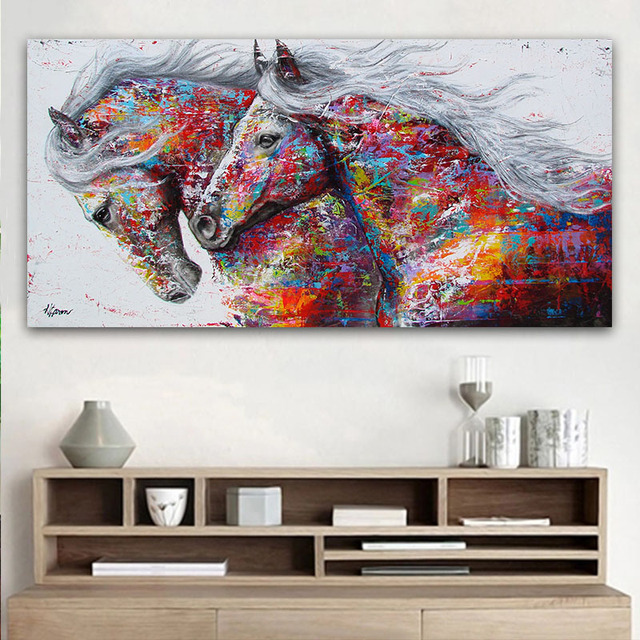 Goodecor The Two Running Horse Canvas Art Animal Wall Poster Pictures For Living Room Home