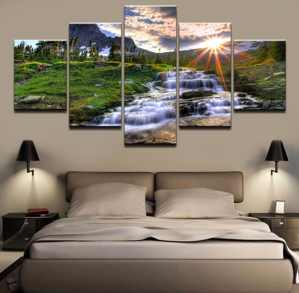 Framework Canvas Pictures 5 Pieces Artistic Sky River And Trees Painting HD Prints Poster Wall Art For Modern Decor Home Bedroom in Painting Calligraphy from Home Garden