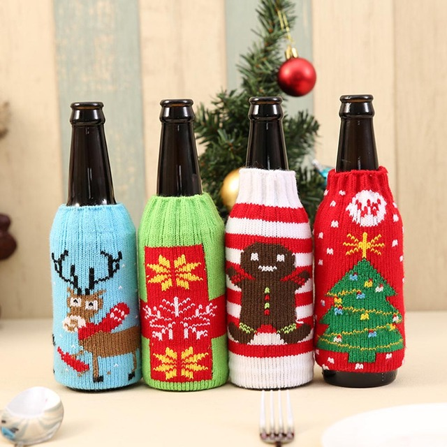 40 Pcs Christmas Snowman Deer Knitting Stockings Candy Gift Bags Beer Amazing Decorate Beer Bottles For Christmas