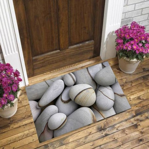 Else Gray Stones On Brown Lines Floral Nature 3d Pattern Print Anti Slip Decorative Floor Door Mat Home Entryway Livingroom
