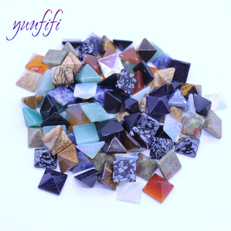Mixing natural stone pyramid ring loose beads 10Pcs/Lot