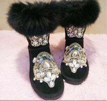 LoneLinecc Hot Black/ Sand Fox Genuine Leather Mid-Calf Boots Flats With Women's Shoes Round Toe Crystal Snow