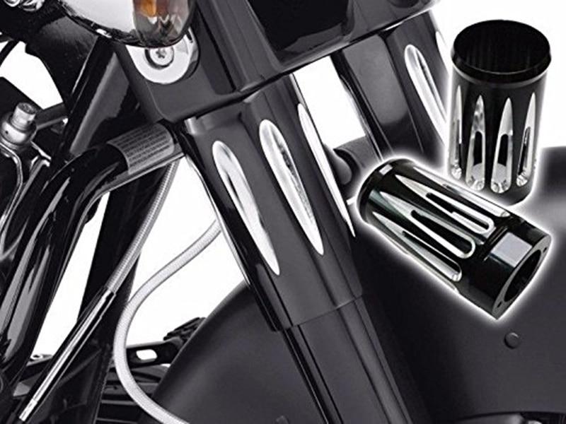 Black Motorcycle Edge Fork Boot Slider Cover Cow Bell For Harley Touring FL 86 14 D35