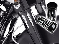 Black CNC Motorcycle Deep Edge Cut Fork Boot Slider Cover Cow Bell For Harley Touring FL