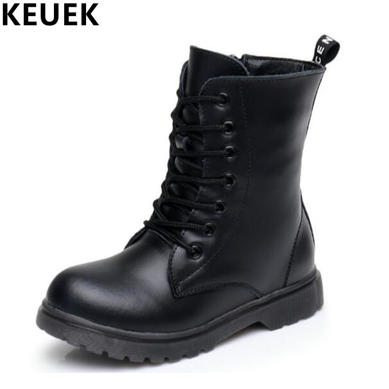 Autumn Winter Children Snow boots Genuine leather Boys Girls Mid-Calf Dance Military Martin boots Kids shoes 03B
