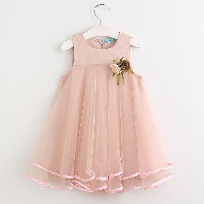 Niñas vestido 2018 princesa vestido sin mangas Appliques diseño ...