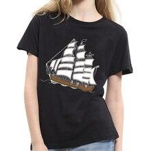 Women Fashion Sailboat Pattern Short Sleeve Tee Casual Summer Couple T-shirt