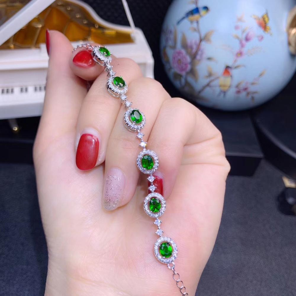 KJJEAXCMY Fine Jewelry 925 sterling silver inlaid natural diopside gemstone female bracelet support review new luxury