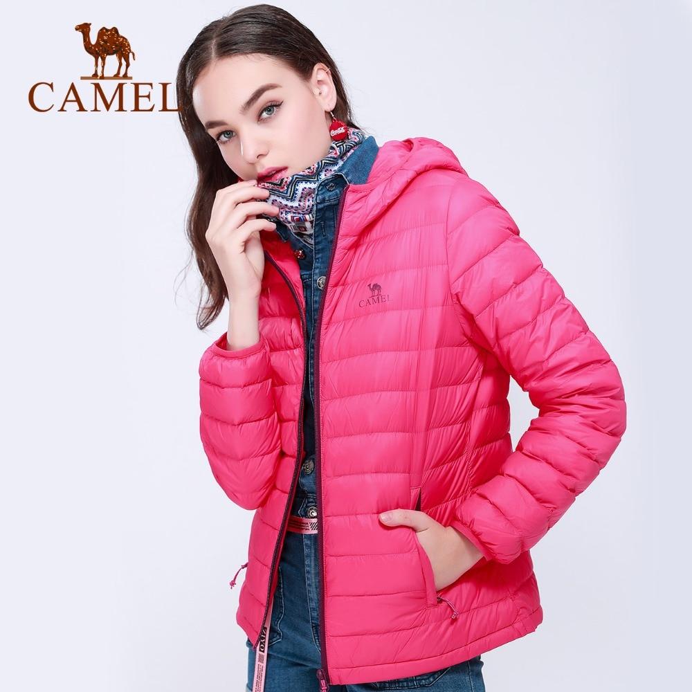 CAMEL Women Casual   Down   Jacket 2018 Ultra Light Long Sleeve   Coat   Keep Warm Windproof Hooded   Coat   Solid Outwear For Ladies