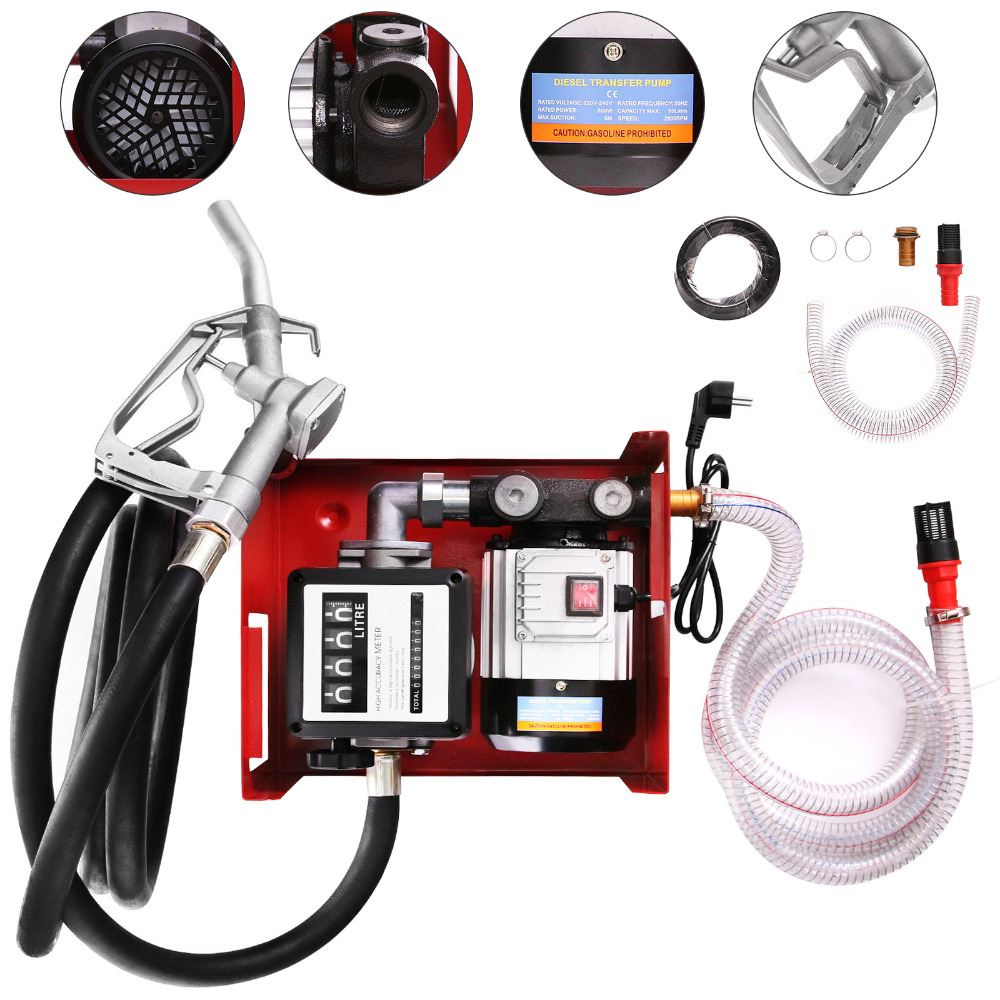 Fuel Oil Pump Self-Priming Diesel Pump with Counter Oil Pump Electric Oil Suction Pump with Fuel NozzleFuel Oil Pump Self-Priming Diesel Pump with Counter Oil Pump Electric Oil Suction Pump with Fuel Nozzle