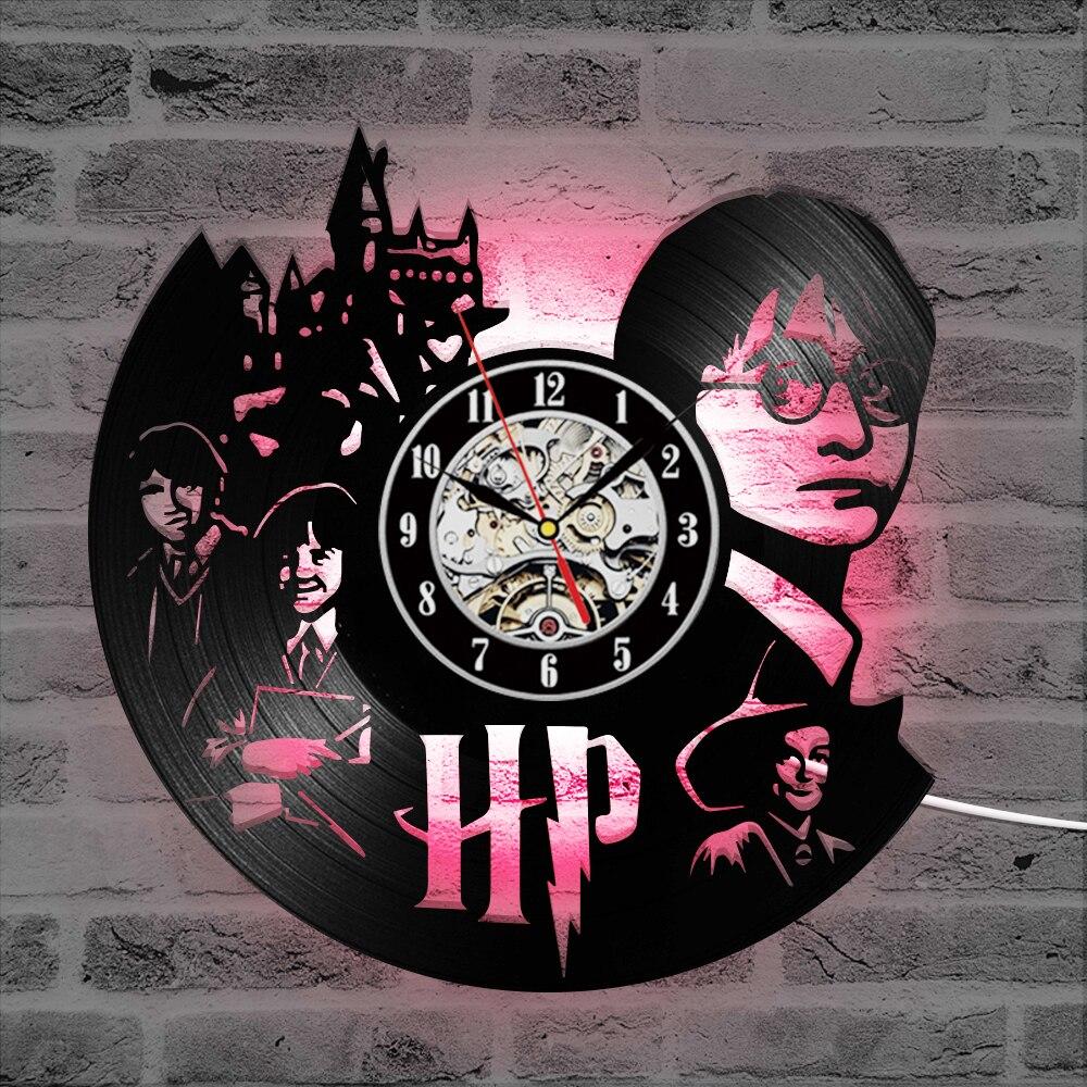 Harry Potter Hermione tema LED reloj de grabación arte CDVinyl Registro Creativo y antiguo reloj colgante de pared negro reloj de decoración para el hogar