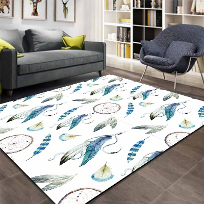 Else Blue Black White Feathers Aztec Ethnic 3d Print Non Slip Microfiber Living Room Decorative Modern Washable Area Rug Mat