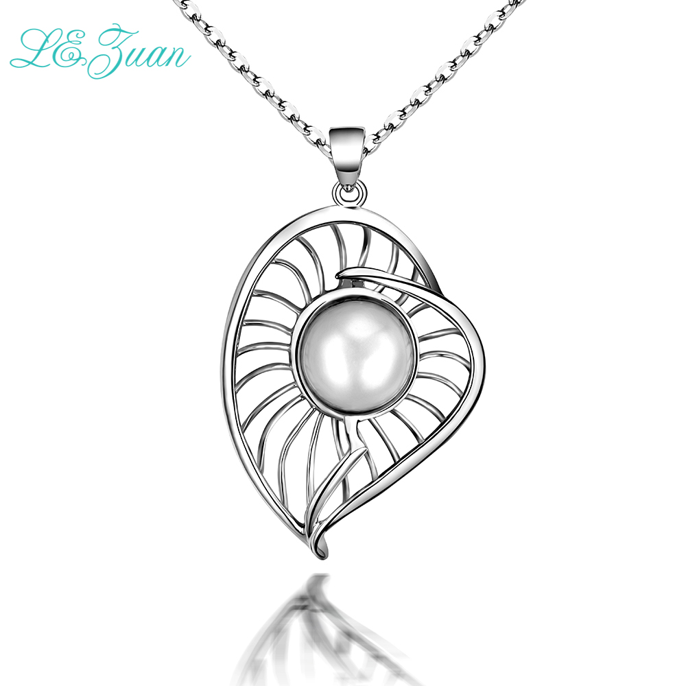 L&zuan 100% 925 Sterling Jewelry Natural Sliver Pendants Necklaces For Women Ladies Freshwater Pearl Leaf Drop Shipping P0158L&zuan 100% 925 Sterling Jewelry Natural Sliver Pendants Necklaces For Women Ladies Freshwater Pearl Leaf Drop Shipping P0158
