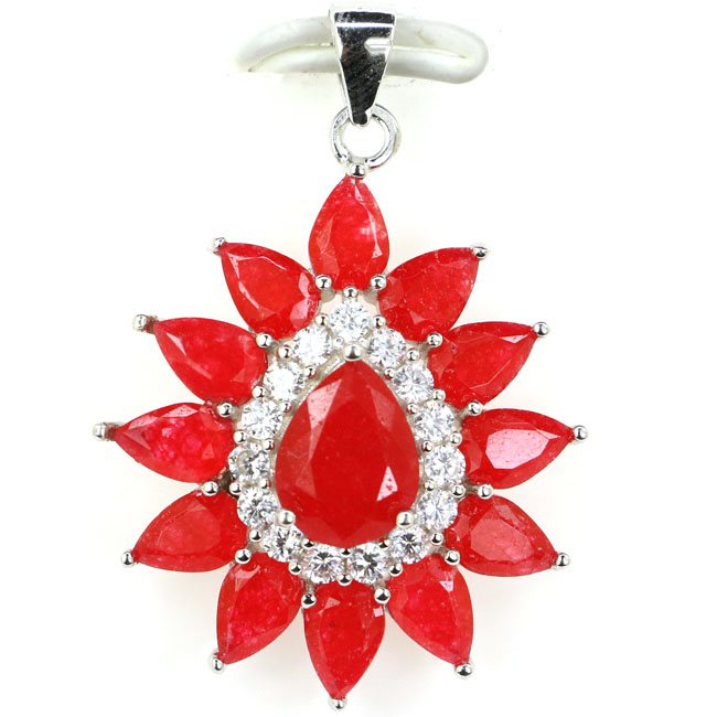 Guaranteed Real 925 Solid Sterling Silver 3.3g Classic Real Red Ruby CZ Womans Wedding Pendant 34x25mmGuaranteed Real 925 Solid Sterling Silver 3.3g Classic Real Red Ruby CZ Womans Wedding Pendant 34x25mm