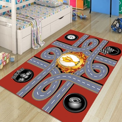 Else Red Car Race Road Game Boys 3d Pattern Print Non Slip Microfiber Children Kids Room Decorative Area Rug Kids Play Game Mat