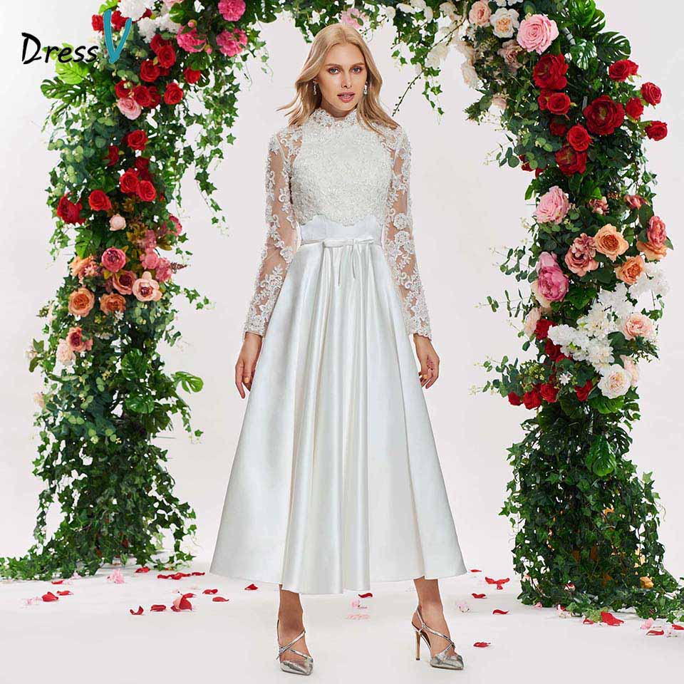 Simple Ankle Length Lace Wedding Dresses White Three: Aliexpress.com : Buy Dressv Ivory Elegant A Line Wedding