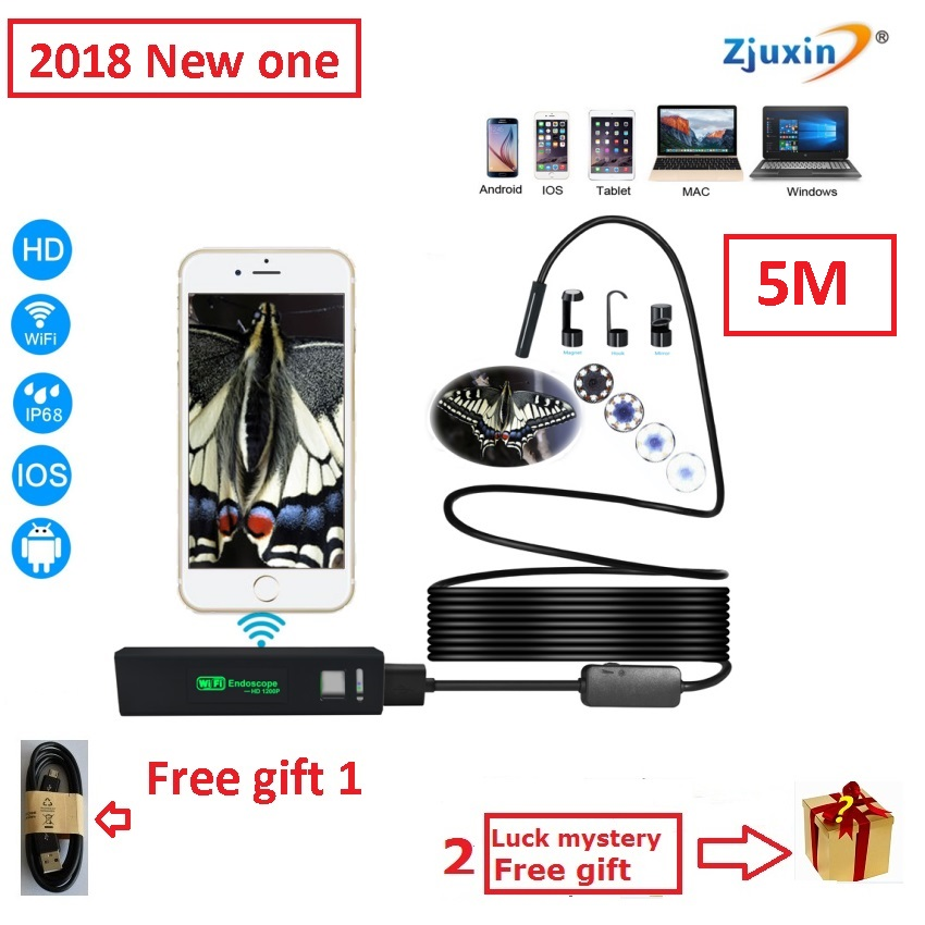 5M WIFI Endoscope New Camera 8mm HD Lens USB Iphone Android endoscope Tablet Wireless Endoscope wifi softwire 3 5m wifi endoscope new camera 8mm hd lens usb iphone android endoscope tablet wireless endoscope wifi softwire