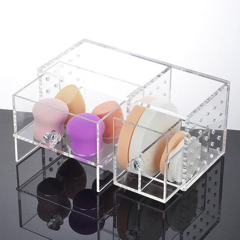 Fashion Clear Acrylic Makeup Storage Box Lipstick Holder Makeup Powder Storage Box Cotton Swab Box Desktop Cosmetic Organizer