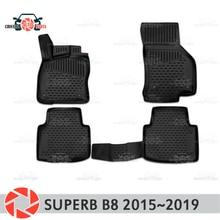 Коврики для Skoda Superb B8 2015 ~ 2019 rugs Нескользящие полиуретан грязи защиты внутренних Тюнинг автомобилей аксессуары