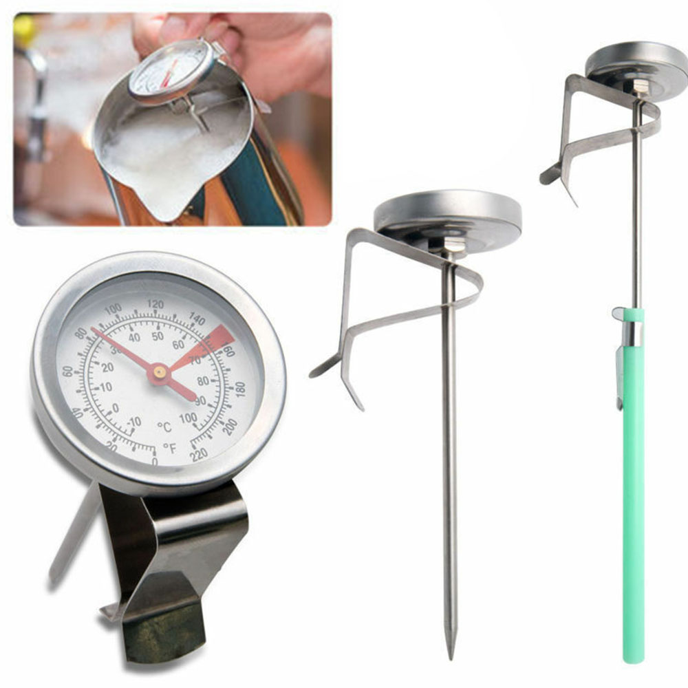 Stainless Steel Coffee Espresso Milk Frothing Candy Food Meat Liqued Cooking Probe Thermometer Clip Kitchen Baking Tools