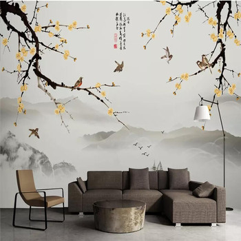 цена на New Chinese-style hand-painted plum landscape TV background wall decoration factory wholesale wallpaper mural photo wall