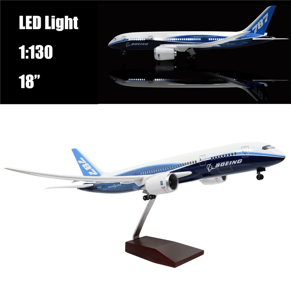 Mini 44 CM (18 inch) 1:130 Airplane Model Boeing 787 with LED Light(Touch or Sound Control) for Decoration or Gift cybernetics or control