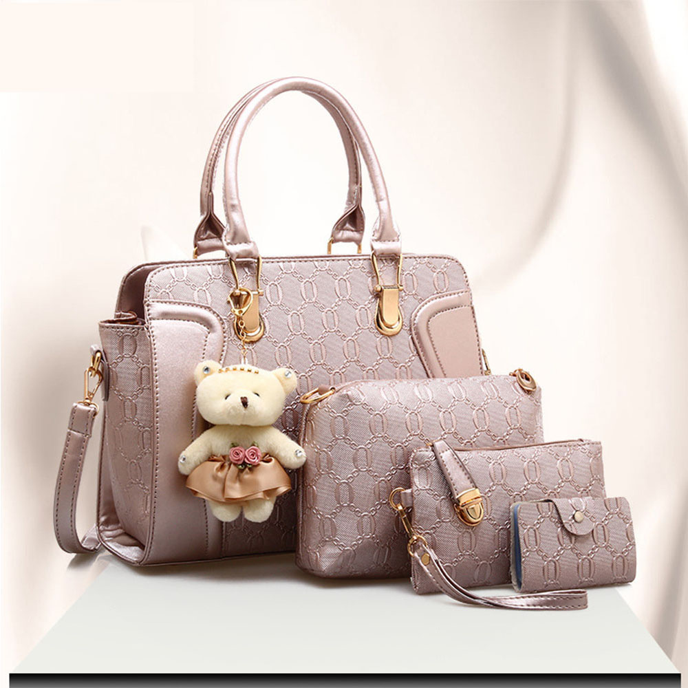 New office women's bags Leather Handbags Casual Tote bags Crossbody Bag TOP-handle bag With Tassel and fluffy ball Four sets недорого