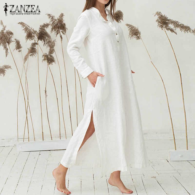 Бренд ZANZEA 2019, женское платье, Осеннее, повседневное, свободное, хлопковое, Vestidos, с длинным рукавом, сексуальное, с разрезом, макси, длинные платья размера плюс