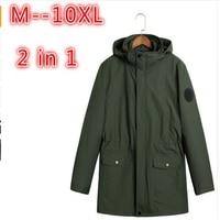 10XL 8XL 6XL 5XL 4X Two Pieces Winter jacket men super warm thickening wool liner parka men brand clothing parka Winter coat men