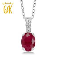 1 61 Ct Oval Red Ruby White Diamond 925 Sterling Silver Pendant