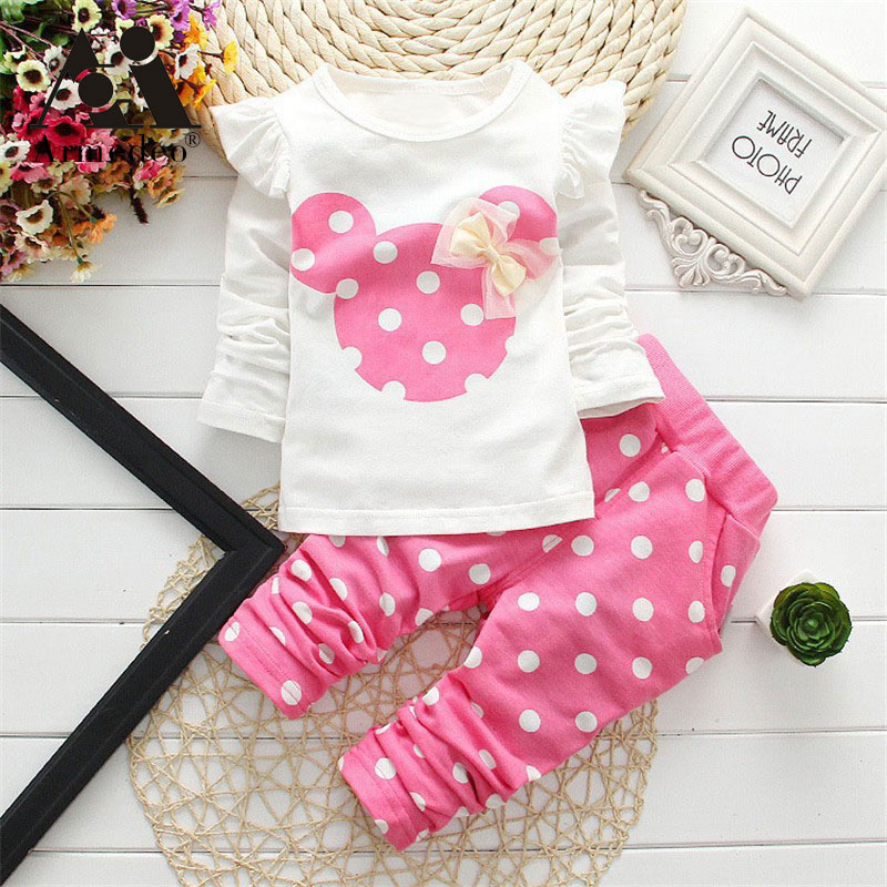 Armedeo new Spring children girls clothing sets mouse early autumn clothes bow tops t shirt leggings pants baby kids 2 pcs suit retail 2016 new girls clothing sets baby kids clothes children clothing full sleeve t shirt leopard legging birthday gift sets