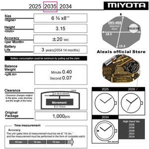 Image 3 - Miyota 2035 Goud Super 3 Hand Quartz Horloge Beweging MO1002B