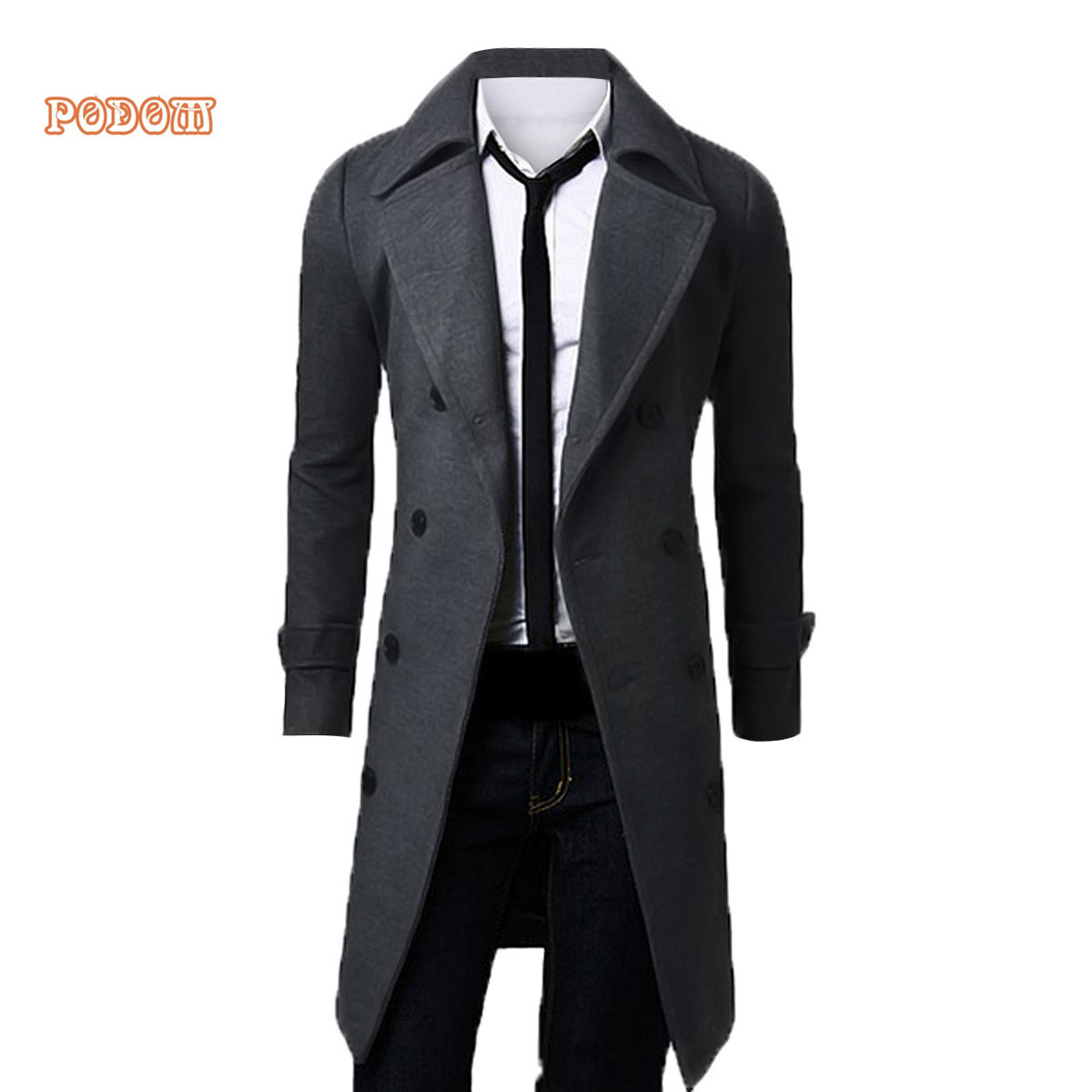 Men's Trench Jacket Business Smart Long Coats Casual Slim Fit ...