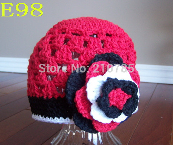 Baby Girls Hat Cotton Knit Floral Beanie For Girls Spring Autumn Caps With Big Flower Winter Childrens Hats Red, White, Black
