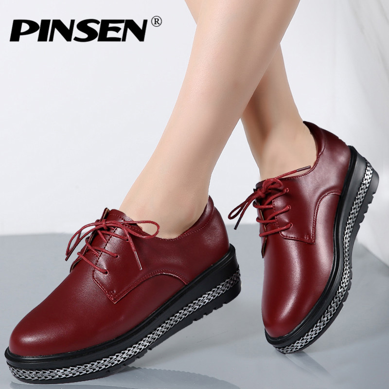 PINSEN 2017 New Women Platform Shoes Woman Genuine Leather Ballet Flats Lace Up Female Casual Heels Oxford Shoes For Women beautyfeet women shoes female genuine leather lace up casual shoes woman flats white shoes candy color breathable ladies shoes