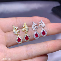 KJJEAXCMY Fine Jewelry 925 sterling silver inlaid natural ruby female earrings support review new luxury