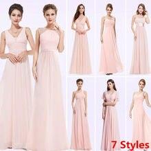 9af1d61bc1e99 Plus Size Cheap Long Chiffon Blush Pink Bridesmaid Dresses 2018 A-Line  Vestido De Festa De Casamen Formal Party Prom Dresses